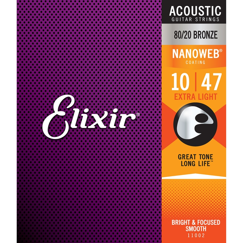 Elixir 11002 Nanoweb 80/20 Bronze Extra Light Acoustic Guitar Strings (10-47)
