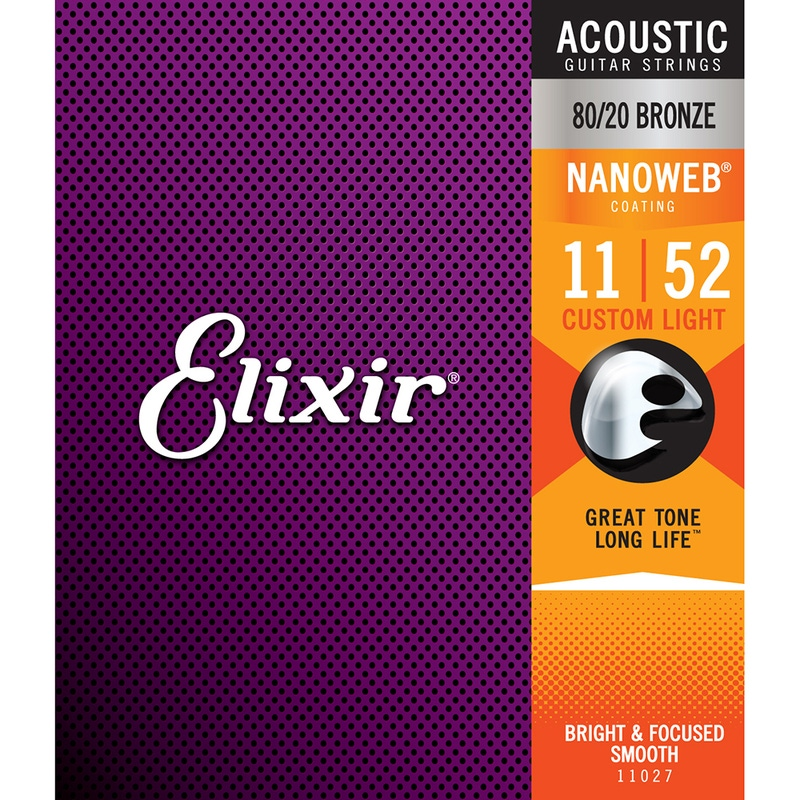 Elixir 11027 Nanoweb 80/20 Bronze Custom Light Acoustic Guitar Strings (11-52)