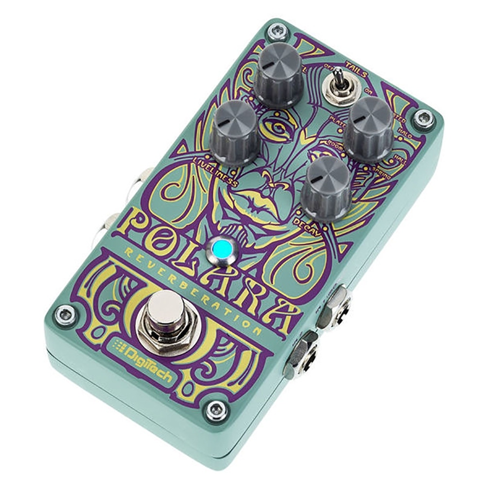 pitbull audio digitech polara stereo reverb guitar effect pedal with cables and power supply. Black Bedroom Furniture Sets. Home Design Ideas