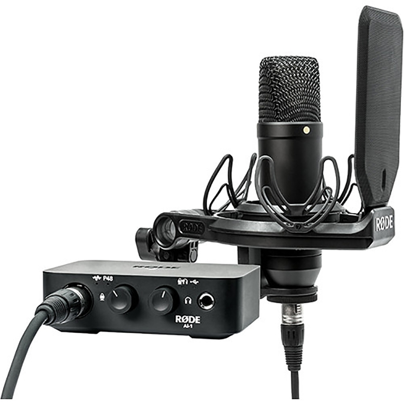 Rode AI-1 Complete Studio Kit with NT1 Microphone, Audio Interface, Shockmount, and Cables