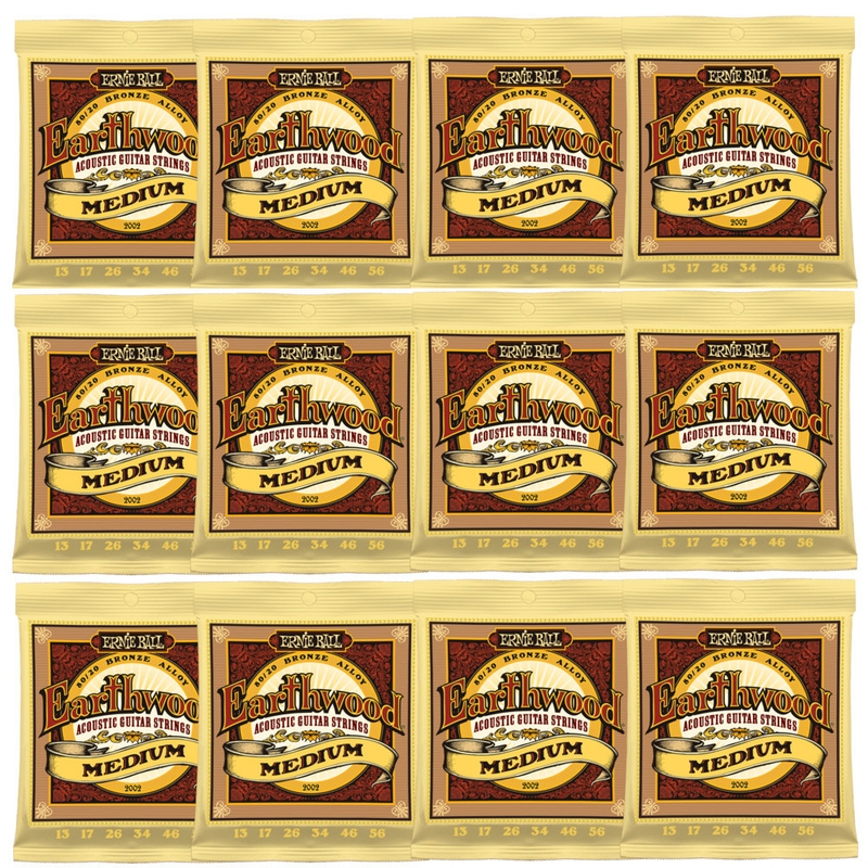12-Pack Ernie Ball 2002 Earthwood 80/20 Bronze Acoustic Guitar Strings (13-56)
