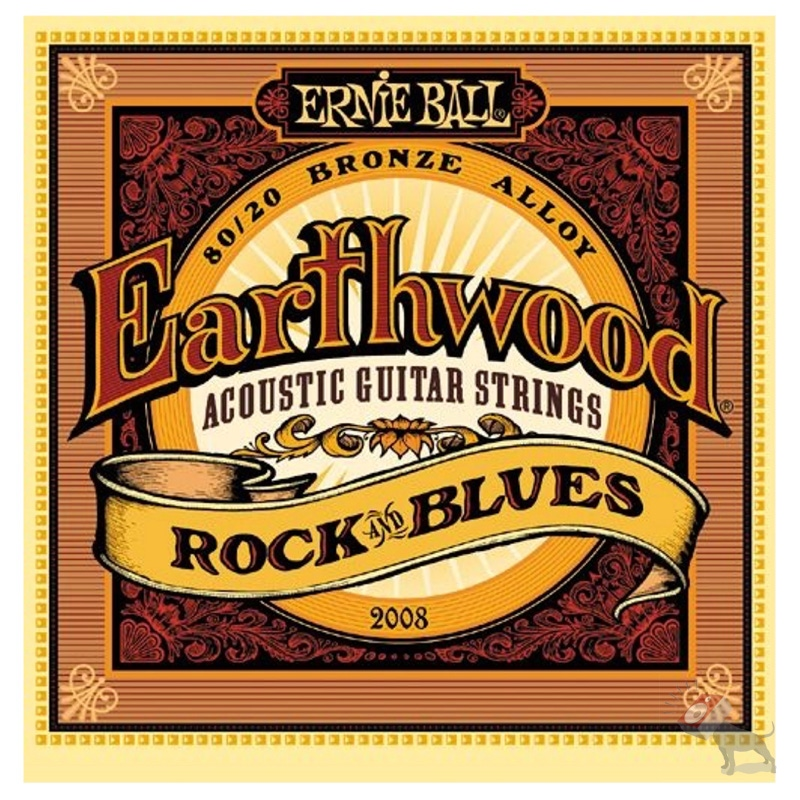 Ernie Ball 2008 Earthwood 80/20 Bronze Rock and Blues Acoustic Guitar Strings (10-52)