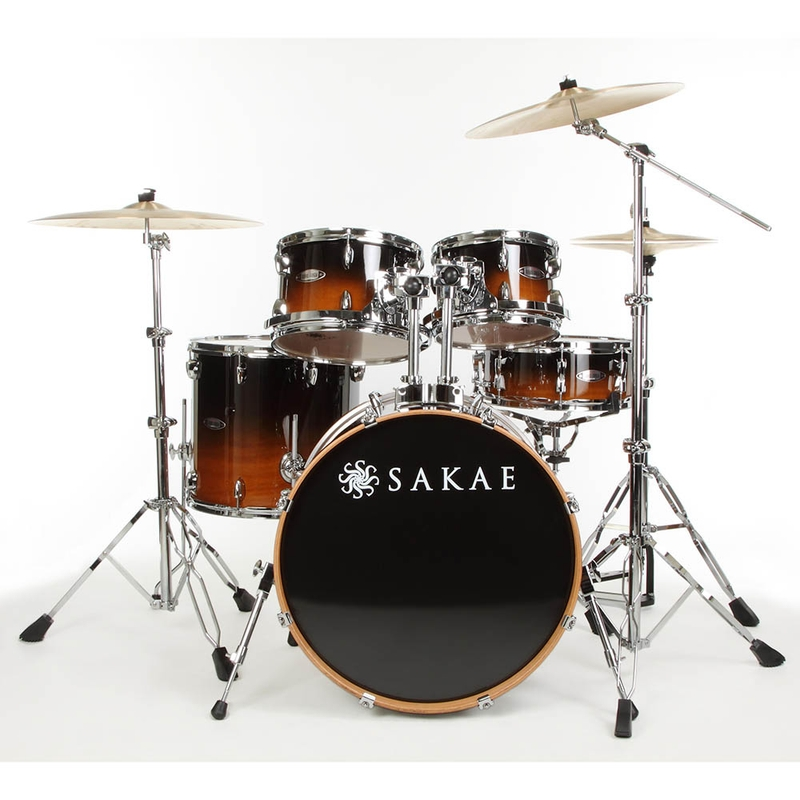 """Sakae Road Anew RF5 Complete Drum Kit with Hardware - Tobacco Fade (22"""" Kick, 10/12/16"""" Toms, 5.5"""" x 14"""" Snare)"""