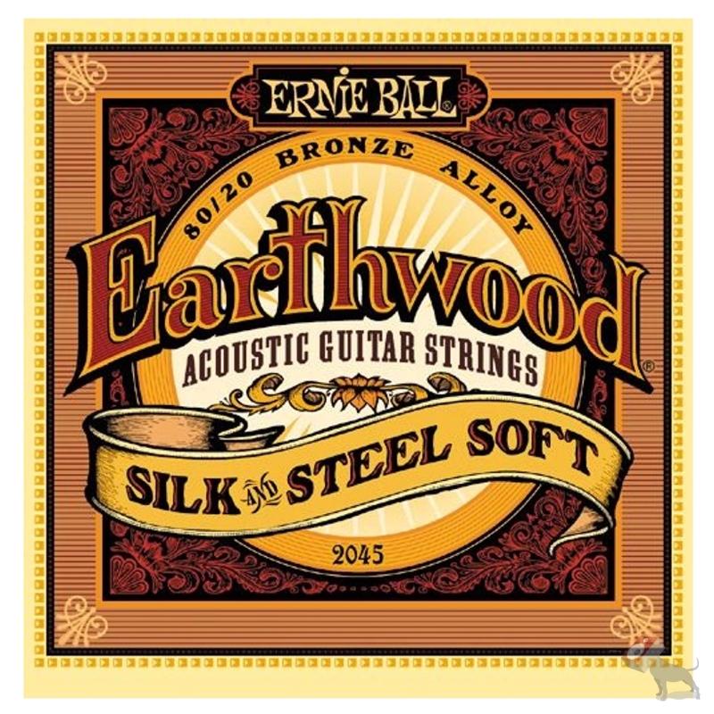 Ernie Ball 2045 Earthwood 80/20 Bronze Silk/Steel Soft Acoustic Guitar Strings (11-52)