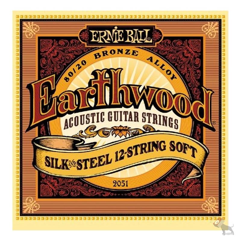 Ernie Ball 2051 Earthwood 80/20 Bronze Silk & Steel 12-String Soft Acoustic Guitar Strings (9-46)