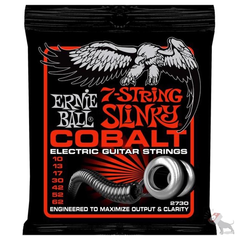 Ernie Ball 2730 Cobalt 7-String Slinky Skinny Top Heavy Bottom Electric Guitar Strings (10-62)