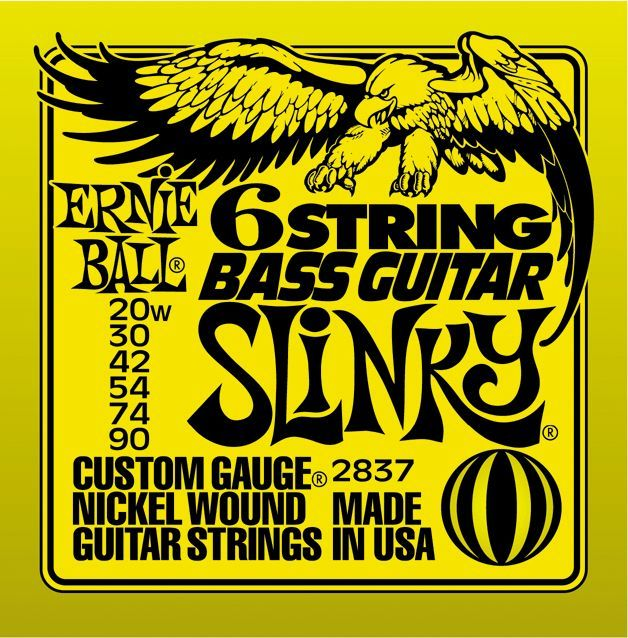 Ernie Ball 2837 6-string Slinky Bass Guitar Strings (20-90)