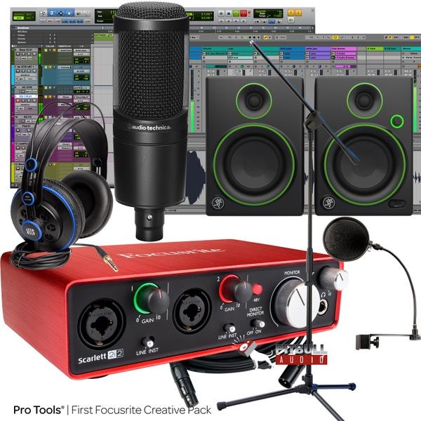 Focusrite Scarlett 2i2 (2nd Gen) Pro Tools First Recording Bundle with Mackie Monitors, Audio Technica Mic, & PreSonus Headphones