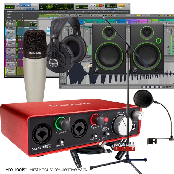 Focusrite Scarlett 2i2 (2nd Gen) Pro Tools First Recording Bundle with Mackie Monitors, Samson Mic, & More