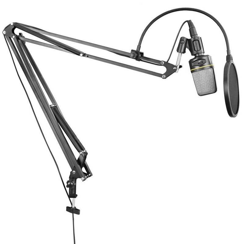 Neewer NB-39 Adjustable Microphone Suspension Boom Scissor Arm Stand with Clip & Clamp