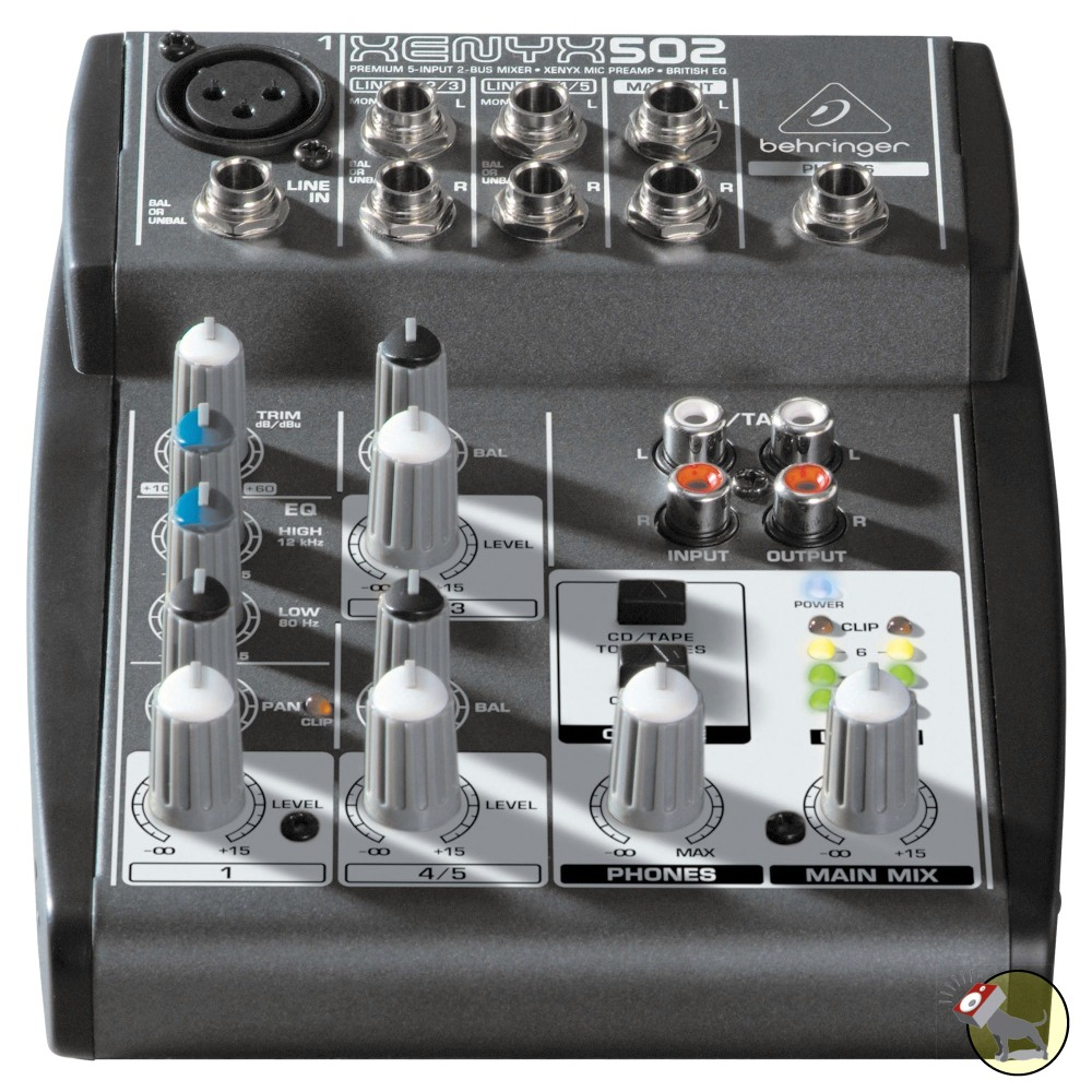 pitbull audio behringer xenyx 502 5 input 2 bus mixer. Black Bedroom Furniture Sets. Home Design Ideas