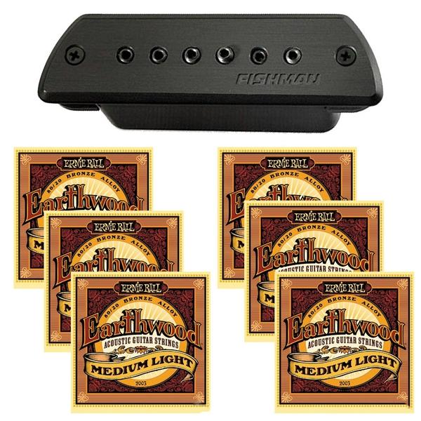 Fishman Blackstack Acoustic Soundhole Pickup with EB-2003 M/L Guitar Strings