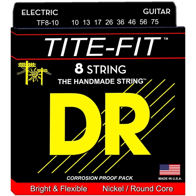 DR Strings TF8-10 Tite-Fit Medium 8-String Electric Guitar Strings (10-75)