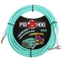 """Pig Hog PCH20SGR Vintage Series 1/4"""" TS Instrument Cable, Straight to Right-Angle, Seafoam Green - 20 ft"""