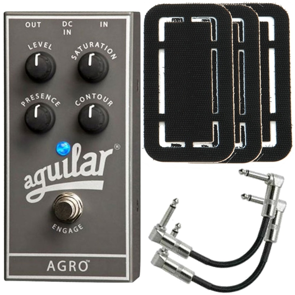 pitbull audio aguilar agro bass distortion guitar effects pedal with patch cables and stagetrix. Black Bedroom Furniture Sets. Home Design Ideas