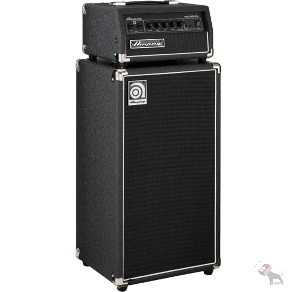 ampeg micro cl stack 100 watt solid state bass guitar amp head 2x10 8 ohm cab ebay. Black Bedroom Furniture Sets. Home Design Ideas