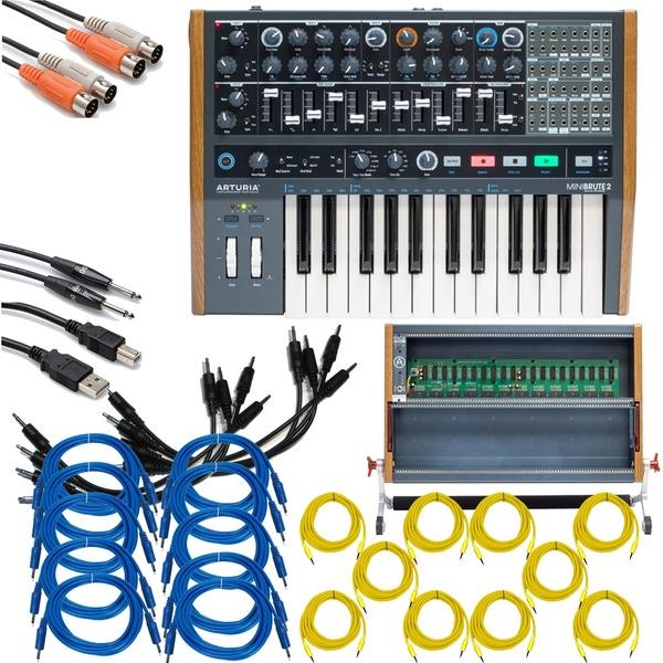 Arturia MiniBrute 2 Semi-Modular Synthesizer with RackBrute 6U Eurorack Case and Cables