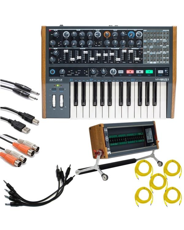 Arturia MiniBrute 2 Semi-Modular Synthesizer with RackBrute 3U Eurorack Case and Cables