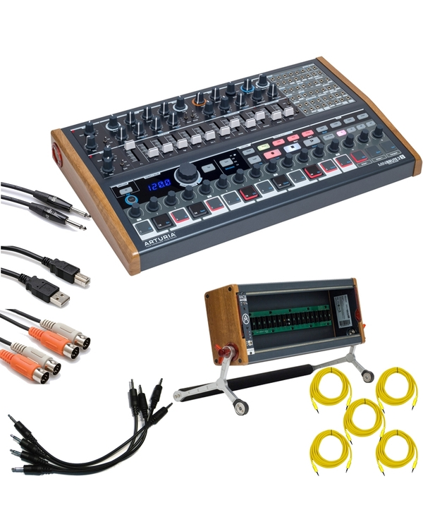 Arturia MiniBrute 2S Semi-Modular Synthesizer/Sequencer with RackBrute 3U Eurorack Case and Cables
