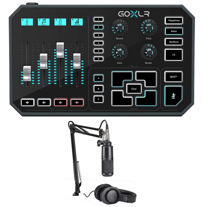 TC Helicon GOXLR Online Broadcaster Platform w/ AT2020PK Mic, Stand, Headphones Bundle