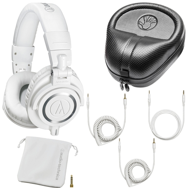 Audio Technica M50X Monitor DJ Studio Headphones White & Protective Hard Case