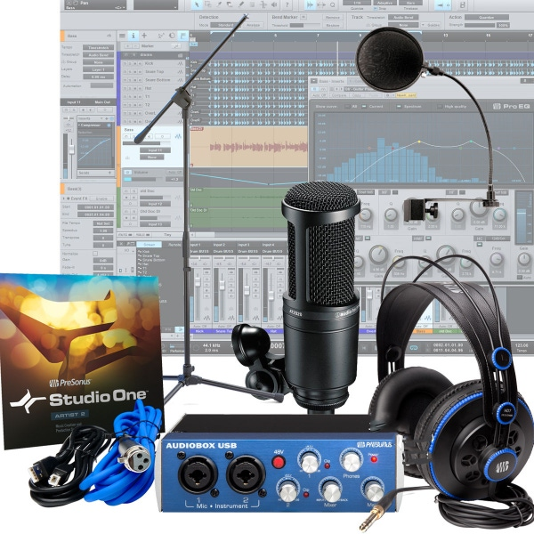 Presonus AudioBox + AT2020 + Pop Filter + Mic Stand Home Recording Studio Bundle