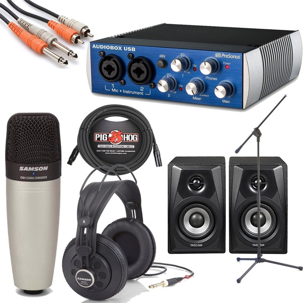 Presonus AudioBox Samson C01 Tascam VLS3 Home Recording Bundle Studio