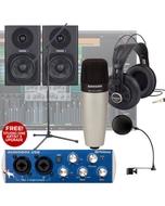 Presonus Audiobox + C01 Microphone + Fostex PM04D + Monitors + Complete Recording Bundle