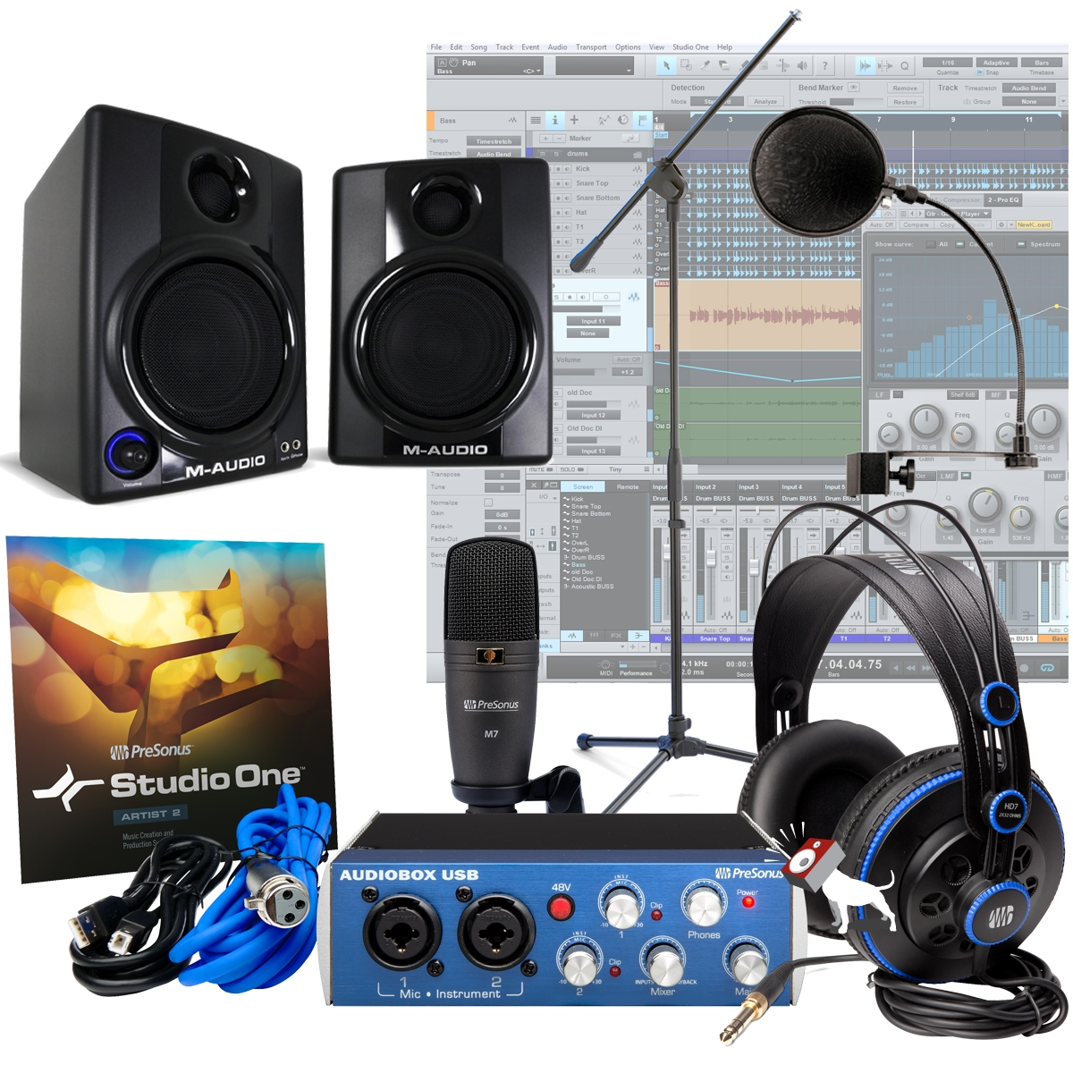 presonus audiobox studio m audio av30 mic home recording package system kit. Black Bedroom Furniture Sets. Home Design Ideas