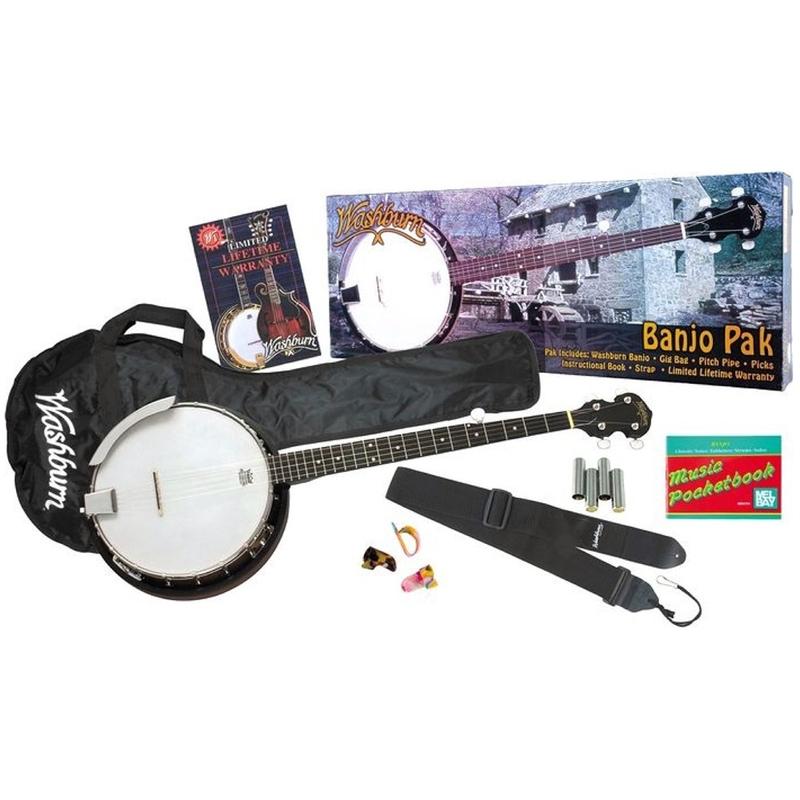 Washburn B8 Banjo Pack with Gig Bag, Pitch Pipe, Finger Picks, Strap, & Instructional Book
