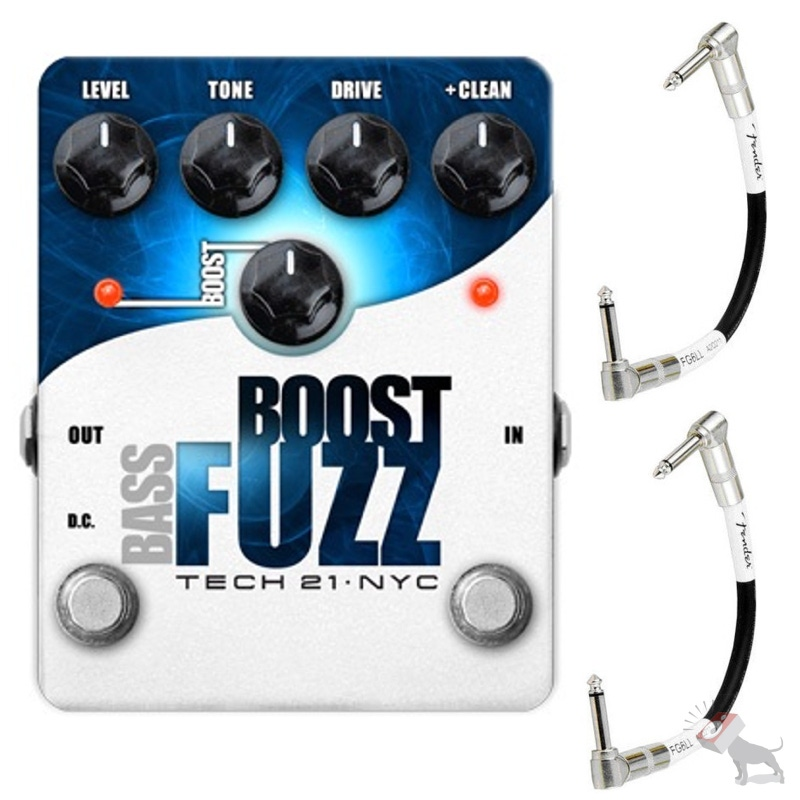 Tech 21 Bass Boost Fuzz Effects Pedal & 2 FREE Fender Patch Cables
