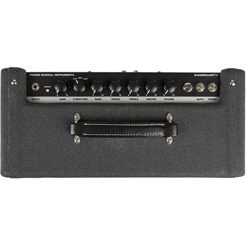 pitbull audio fender bassbreaker 15 head 15 watt guitar amplifier head gray tweed. Black Bedroom Furniture Sets. Home Design Ideas