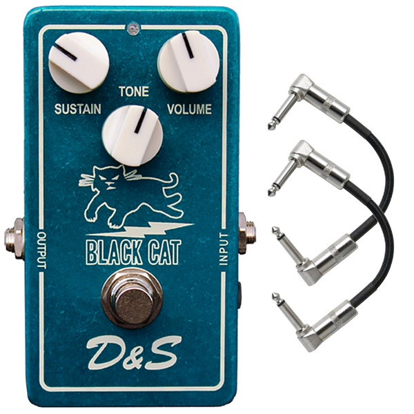 Black Cat Pedals D&S DS Guitar Effects Pedal (Ibanez/Maxon OD-801 Replica) with Patch Cables