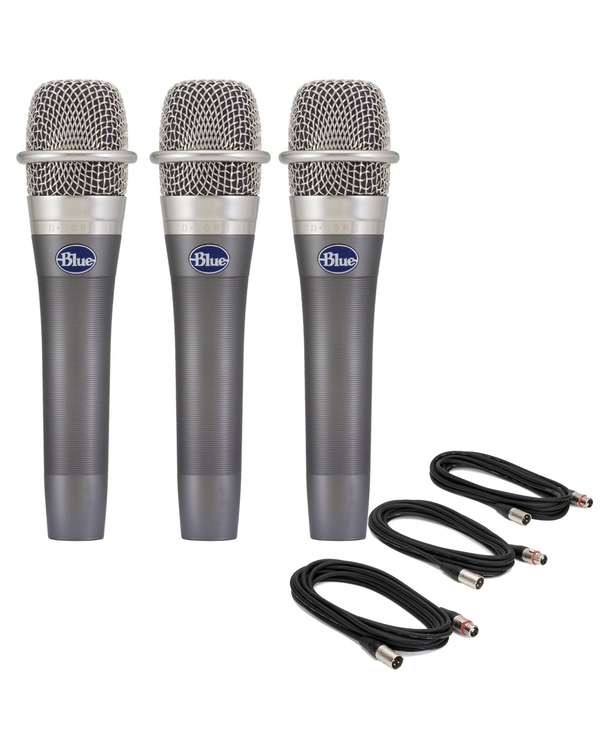 3-Pack of Blue enCORE 100 Dynamic Microphones with 18' XLR Cables