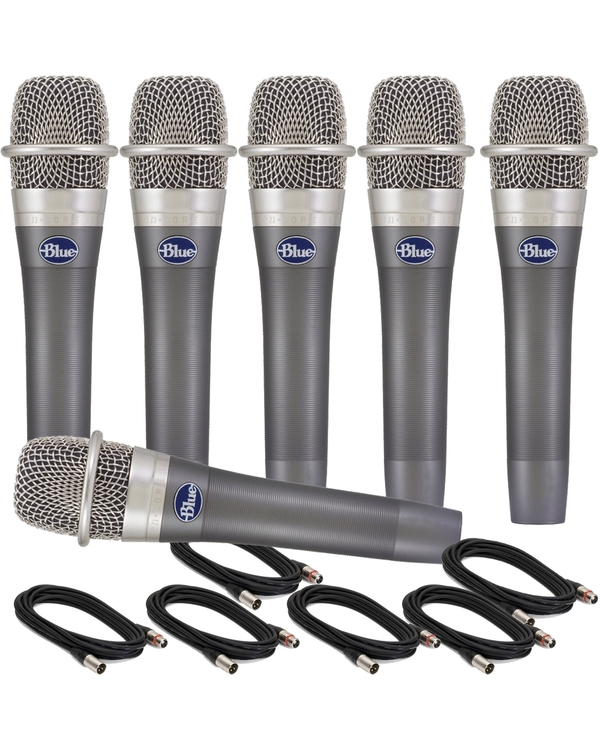 6-Pack of Blue enCORE 100 Dynamic Microphones with 18' XLR Cables