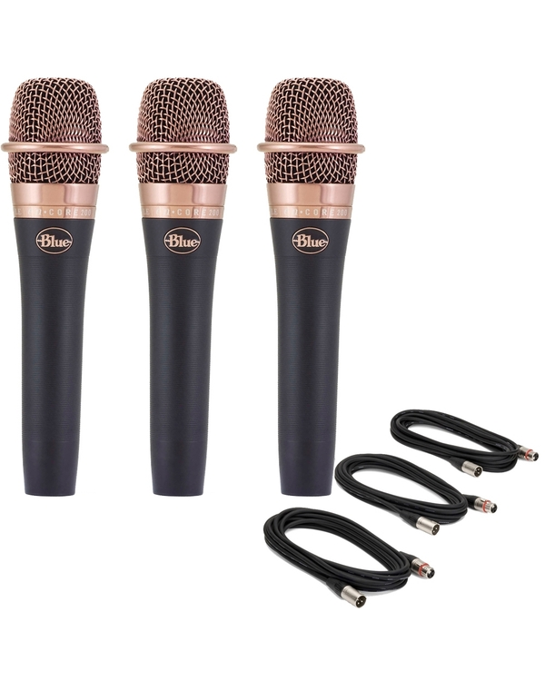 3-Pack of Blue enCORE 200 Dynamic Microphone with 18' XLR Cables