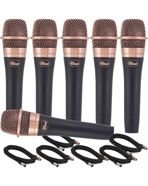 6-Pack of Blue enCORE 200 Dynamic Microphone with 18' XLR Cables