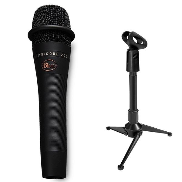 Blue enCORE 200 Dynamic Microphone (Black) with Mini Tripod Stand