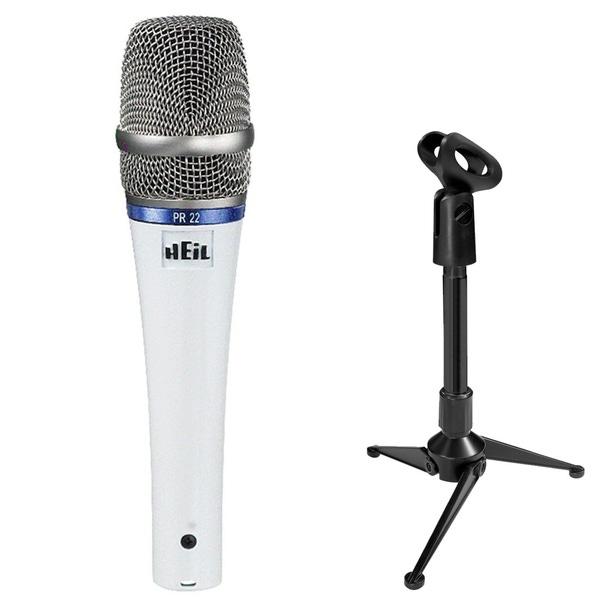 Heil Sound PR22 Microphone White with Mini Tripod Stand