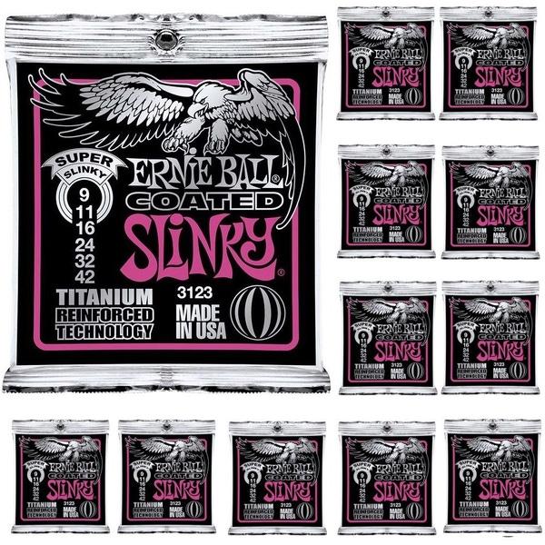 12-Pack Ernie Ball 3123 Coated Super Slinky Titanium Electric Guitar Strings