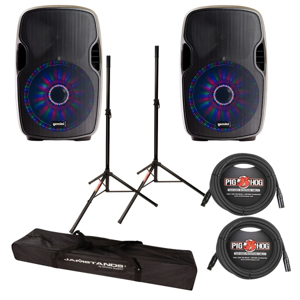 """Gemini AS-15BLU-LT 2-Way Powered 15"""" Speakers Pair w/ LED & Bluetooth Cables +Stands"""