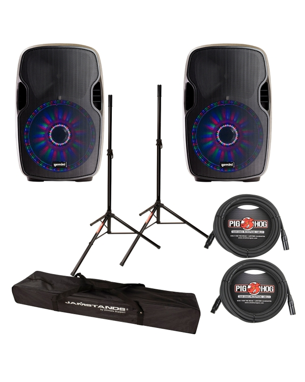 "Gemini AS-15BLU-LT 2-Way Powered 15"" Speakers Pair w/ LED & Bluetooth Cables +Stands"