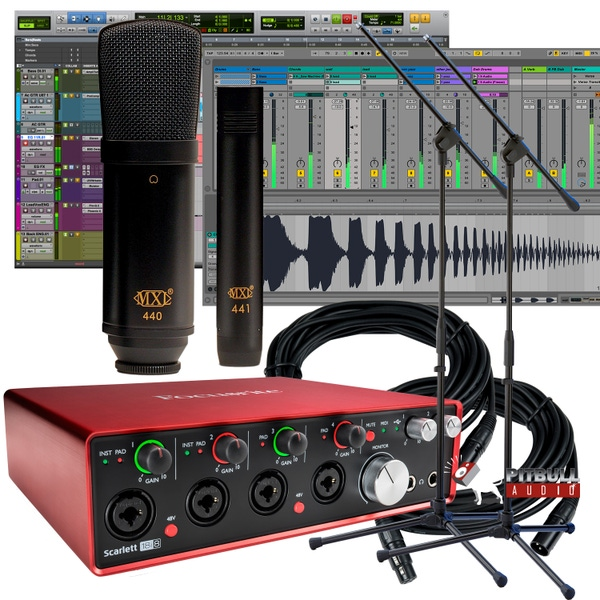 Focusrite Scarlett 18i8 (2nd Gen) Recording Interface Bundle with Pro Tools First, MXL 440/441 Mics, Cables, & Stands