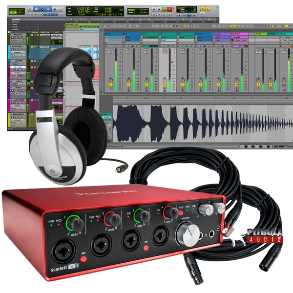 Focusrite Scarlett 18i8 (2nd Gen) Recording Interface with Pro Tools First, Headphones, and Cables