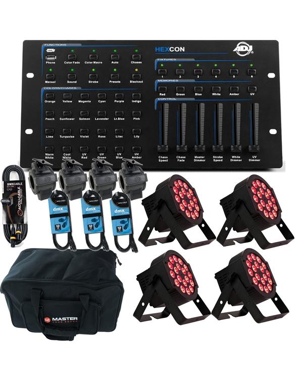 ADJ 18P HEX PAR X 4 + HEX DMX Controller + Cables Bundles +Bag