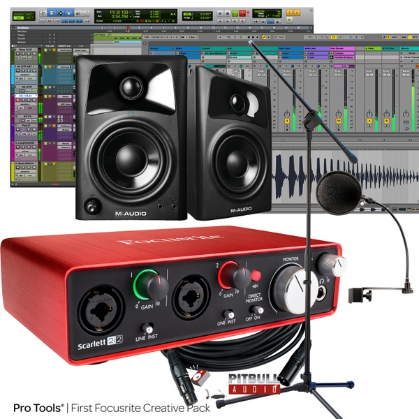 Focusrite Scarlett 2i2 (2nd Gen) Pro Tools First Recording Bundle with M-Audio Monitors, Pop Filter, Stand, & Cables