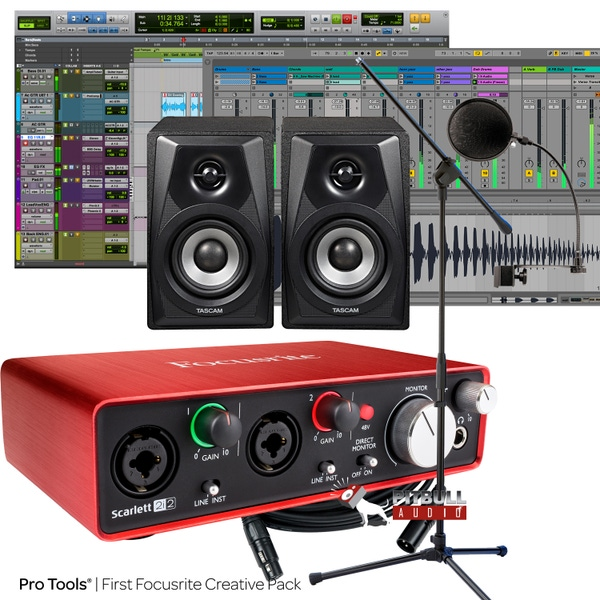 Focusrite Scarlett 2i2 (2nd Gen) Pro Tools First Recording Bundle with Tascam Monitors, Pop Filter, Mic Stand, & Cables