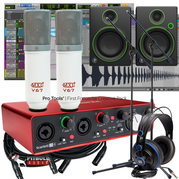 Focusrite 2i2 2ND Gen Recording Interface + Mackie Monitors + MXL V67 P x 2 + Studio Bundle