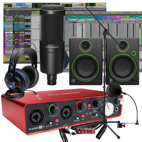 Focusrite Scarlett 2i4 (2nd Gen) Pro Tools First Recording Bundle with Mackie Monitors, Audio Technica Mic, & PreSonus Headphones