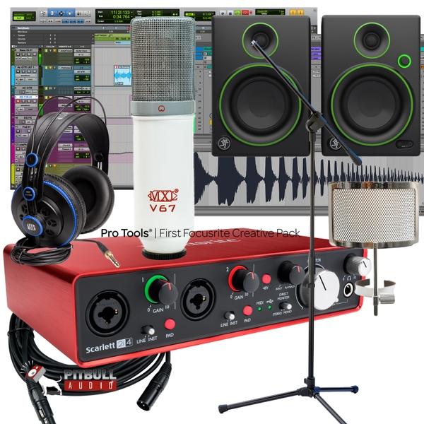 Focusrite 2i4 2ND Gen Recording Interface + Mackie Monitors + MXL V67 P + Studio Bundle